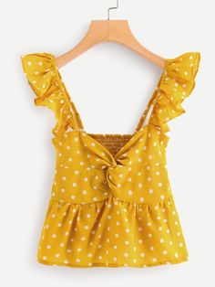 SheIn offers Twist Front Frill Trim Polka Dot Top & more to fit your fashionable needs. Dresses For Teens, Trendy Dresses, Nice Dresses, Look Fashion, Trendy Fashion, Fashion Outfits, Womens Fashion, Blouse And Skirt, Blouse Outfit