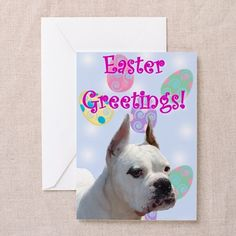 "Easter Greetings White boxer Greeting Cards  Choose from three size options: Note Card (4"" x 5.6""), Greeting Card (5"" x 7""), or X-Large Greeting Card (7.8"" x 11"") White envelope included  #boxer #cards #easter #greetings #card #boxers #dog #pet #holiday"