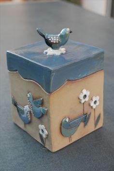 Praktischer Behälter aus Keramik, zum Aufbewahren von Kleinigkeiten, Handarbeit, Motiv Vögel