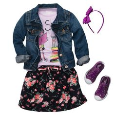 Beauty and Brains | OshKosh B'gosh Girl - cute girls outfit for back to school! #OshKoshB2S little girl fashion. Little fashionista. Kid style.