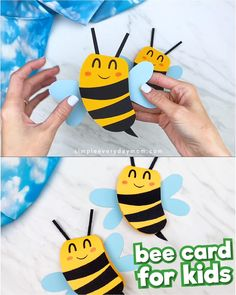 This bee card craft for kids is a fun homemade card that's great to use for Mother's Day or Father's Day! It's a simple DIY project that comes with a free printable template. Bees For Kids, Bee Crafts For Kids, Mothers Day Crafts For Kids, Diy Projects For Kids, Fathers Day Crafts, Diy For Kids, Easy Crafts, Easy Diy, Simple Diy