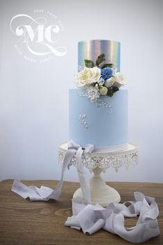 Blue and metallic wedding cake by Mama Cakes Cumbria