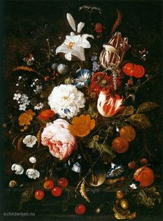 Schilderij Stilleven met bloemen in een glazen vaas en Fruit