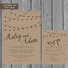 Kraft papier bruiloft uitnodiging, rustieke bruiloft uitnodiging, String lichten bruiloft uitnodiging, afdrukbare, sjabloon