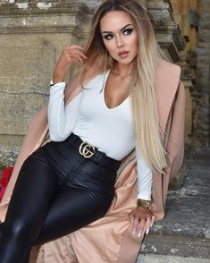 a66975de38e High waisted Leather Skinnies paired with a crisp white Top