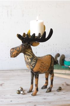 Great for the man cave: Love This Recycled Metal Moose Candle Holder :)