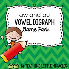 """Two fun and engaging games designed to practice words with vowel digraphs a, al, au, aw, augh, and ought. Games Included: One """"I have...Who Has...?"""" game and one Connect Four game board Words Included: saw, raw, draw, paw, taught, caught, all, wall, fall, small, yawn, lawn, dawn, fault, chalk, sauces, hall, halt, tall, ball, laws, hawk, also, always, vault, called, claw, cause, jaw, straw, thaw, walk, crawl, and thought. ..."""