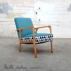 Fauteuil vintage des années 60 bleu-menthe géométrique