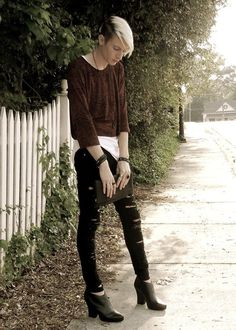 Brown Top with Ripped Jeans and Heels