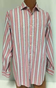 Tailorbyrd Shirt L Men's Contrasting Cuff Striped Button Front Pink Blue Dress #TailorByrd
