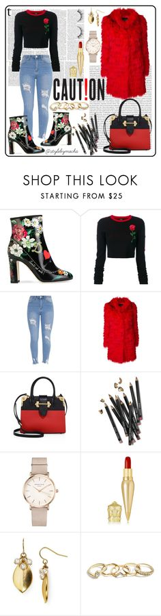 """NYE Rosegirl"" by mochachalon ❤ liked on Polyvore featuring Dolce&Gabbana, County Of Milan, Oris, Ermanno Ermanno Scervino, Prada, Bobbi Brown Cosmetics, ROSEFIELD, Christian Louboutin, Carolee and GUESS"