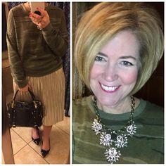 Camo and sparkles for a super long Monday. Everything but my bag and necklace is from @target .😍 #teacherstyle #kendrascott #teacherootd #wiw #ootd #fashionover50