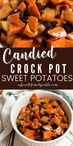 Try these candied crock pot sweet potatoes for your Thanksgiving dinner this year! If you're looking for an easy crockpot Thanksgiving side dish, this is the best recipe out there! All you need to do is chop the sweet potatoes and apples, mix the sauce and dump everything into the crockpot for this Thanksgiving sweet potato recipe. #thanksgiving #thanksgivingrecipes #thanksgivingsidedishes #sweetpotatoes #sweetpotatorecipes #crockpotrecipe Steak Side Dishes, Side Dishes For Chicken, Rice Side Dishes, Best Side Dishes, Healthy Side Dishes, Vegetable Side Dishes, Thanksgiving Sweet Potato Recipes, Traditional Thanksgiving Recipes, Thanksgiving Desserts Easy
