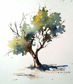 BB-Aquarell: Direkt mit dem Pinsel / Direkt mit dem Pinsel BB-Aquarell: Direct with the brush / Direct with the brush Watercolor Trees, Easy Watercolor, Watercolor Pencils, Watercolor Landscape, Watercolour Painting, Landscape Paintings, Watercolours, Painting Trees, Oil Paintings