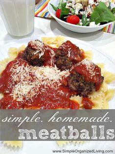 Simple, Homemade Meatballs via Simple Organized Living