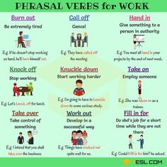 14 Useful Phrasal Verbs for Work in English - 7 E S L Work Phrasal Verbs! Learn commonly used phrasal verbs for work in English with meaning, ESL picture and example sentences to use at the office.
