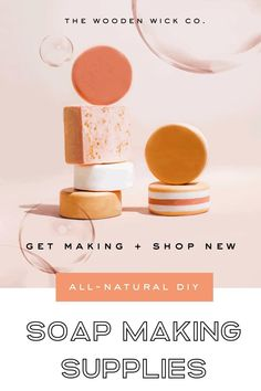 Shop everything you need to make one-of-a-kind, all-natural and nourishing hand and body soaps. Soap molds, soap bases, soap fragrance oils, and more. Exclusively from The Wooden Wick Co. Handmade Soap Recipes, Soap Making Recipes, Handmade Soaps, Homemade Soap Bars, Soap Making Supplies, Soap Molds, Home Made Soap, Diy Beauty, Castile Soap