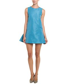 RED Valentino Blue Ruffle Back Dropped Waist Dress