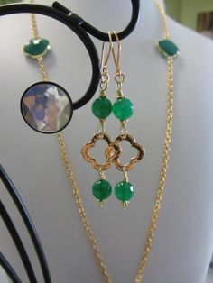 Unique Custom Designed Green Onyx & Gold Plated by JKCustomDesigns, $38.00