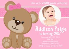 Pink Teddy Bear Birthday Party Invitation  by PrettyPaperPixels, $7.99 - love this, but in blue!