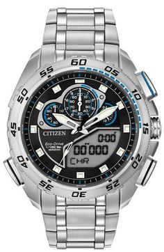 Citizen Men s Eco-Drive Promaster Super Sport Silver Black Watch Stainless  Steel Watch fb88ffc7072