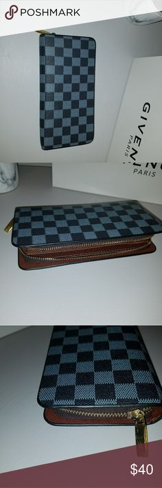 LV inspired wallet. Not real!! LV inspired wallet. Brand new never used. Perfect condition. Dark grey and black. 8 card slots and inner zipper Bags Wallets