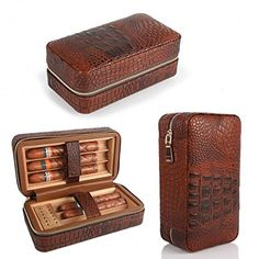 LAGUTE Groucho Cigar Case Travel Genuine Leather Humidor Cedar Wood Lined with Humidifier and Removable Trays, Portable Light Weight Cigar Box Gift Set. Lagute specializes in designing and craftingpremium cigar humidor. Cigar Accessories, Smoking Accessories, Top Cigars, Cuban Cigars, Travel Humidor, Travel Box, Cigar Travel Case, Cigar Tube, Cigars