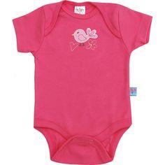 Body Bebê Menina Manga Curta Passarinho em Suedine Pink - Up Baby :: 764 Kids | Roupa bebê e infantil