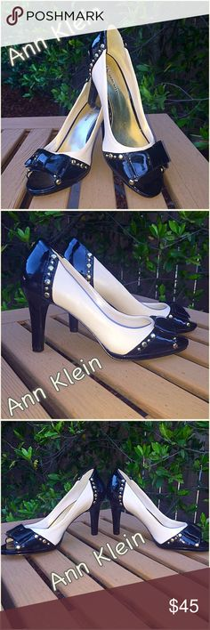 """Klein Hubba hubba these Ann K studded jet black and cream almost 4"""" heels are a fashionista's dream. Brand new never worn spotless bottoms, no box package with posh love!. Ann klein Shoes"""