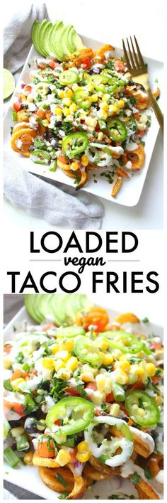 Vegan Taco Fries - This Savory Vegan All of your favorite taco flavors come together with these Loaded Vegan Taco Fries. A fun game day snack or quick dinner Veggie Recipes, Mexican Food Recipes, Whole Food Recipes, Cooking Recipes, Healthy Recipes, Healthy Fries, Vegan Recipes Beginner, Meatless Recipes, Cooking Games