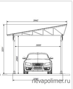 Навес односкатный для одного автомобиля Steel Trusses, Roof Trusses, Steel Structure Buildings, Metal Buildings, Carport Designs, Garage Design, House Roof Design, Car Shed, Car Canopy