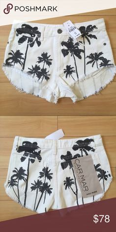 NWT LF Carmar Palm Trees Print Shorts RARE New with tags! By Carmar, bought at LF. Originally $168! Size 23. No trades. LF Shorts Jean Shorts