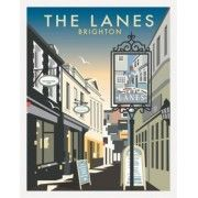 "Schild ""The Lanes, Brighton, East Sussex"" von Dave Thompson, Grafikdruck East Urban Home Brighton East Sussex, History Of England, Poster Prints, Art Prints, Vintage Travel Posters, Framed Art, Graphic Art, Artist, Blue Cream"
