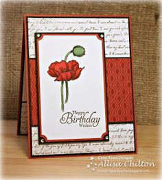 Handmade card from Rocky Mountain Paper Crafts: Freshly Made Sketches . red and white with touches of green and black mats and inking. I like the detail of the brads. Homemade Greeting Cards, Greeting Cards Handmade, Homemade Cards, First Birthday Balloons, Poppy Cards, Stamping Up Cards, Maker, Happy Birthday Cards, Birthday Wishes
