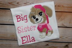 Personalized Big Sister Little Sister Sibling by PerryWinklesEmb