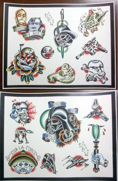 Star Wars Themed Tattoo Flash Set. $20.00, via Etsy.