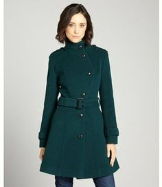 Cole Haan teal asymmetrical wool blend belted button front coat on shopstyle.com