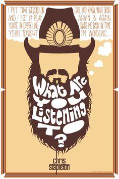 "Chris Stapleton ""Wondering"" Poster by Anthony Errickson, via Behance Music Is My Escape, I Love Music, Music Tv, Music Lyrics, Love Songs, Country Lyrics, Country Music Singers, Country Songs, Chris Stapleton Shirt"