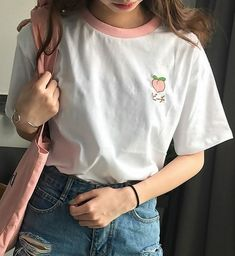 Embroidered Fruity T-Shirt - Embroidered Fruity Tee – Shop Minu (shirt) Korean Aesthetic Asian Women's Fashion - Source by outfits korean Aesthetic Shirts, Aesthetic Fashion, Aesthetic Clothes, Korean Aesthetic, Aesthetic Shop, Pale Aesthetic, Mode Outfits, Korean Outfits, Girl Outfits