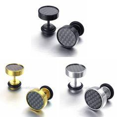 Carbon Fiber Barbell Dumbbell Men's Women's Stainless Steel Stud Earrings 2Pcs #Unbranded #Stud