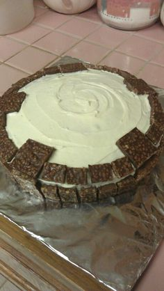 """Practice Skylanders """"Portal"""" cake for Seth's 5th birthday party. Just white cake, vanilla frosting, and Crunch bar pieces!"""
