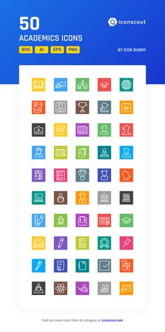 Academics  Icon Pack - 50 Line Icons
