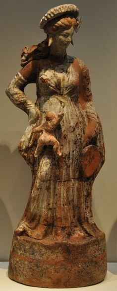 Greek terracotta from Tanagra, 350 BC.---really was that baby there when this was made?
