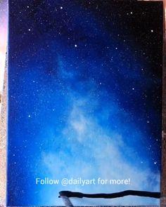 Great art by ID: (Döuyin App) - Galaxy Painting - Step By Step Acrylic Painting Tutorial Cute Canvas Paintings, Canvas Painting Tutorials, Canvas Art, Easy Paintings, Galaxy Painting Acrylic, Acrylic Art, Night Sky Painting, Art Painting Gallery, Painting Art