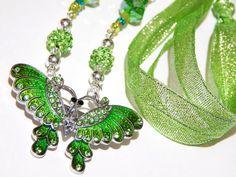 Green Butterfly Necklace  Butterfly Brooch  by MURPHYSTREASURES2