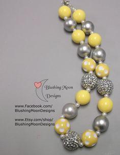 Silver Grey Yellow Rhinestone Bubblegum Necklace               (Matching Bracelet & Headband available)