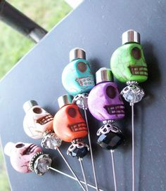 Day of the Dead Wedding Corsage Pin Sugar Skull by VivaGailBeads, $9.75 each