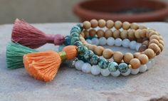 A personal favorite from my Etsy shop https://www.etsy.com/listing/264800951/tassel-wrap-bracelet-yoga-bracelet-6mm
