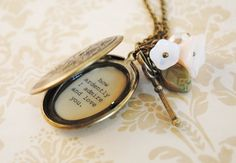 Jane Austen Necklace - Womens Locket - Mr. Darcy - Pride and Prejudice - You must allow me to tell you how ardently I admire and love you. $32.00, via Etsy.