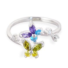 .925 sterling silver multi-colored jeweled butterfly toe ring.  #toering #piercing #bodypiercings #bodyjewelry #butterfly ♥ $25.49 via OnlinePiercingShop.com